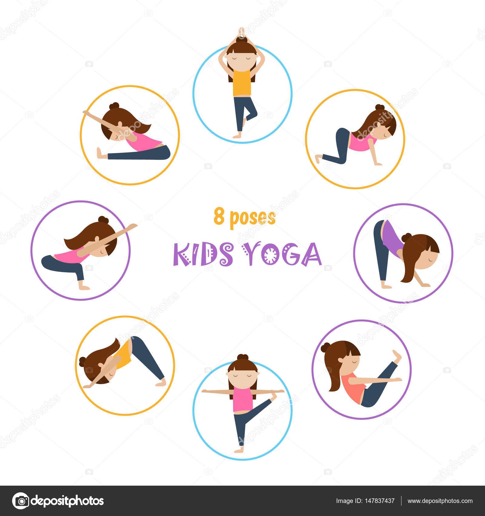 Yoga kids colección de vectores. Conjunto de posturas de yoga para niños de  estilo plano. Gimnasia y estilo de vida saludable. c5bd1d79862b