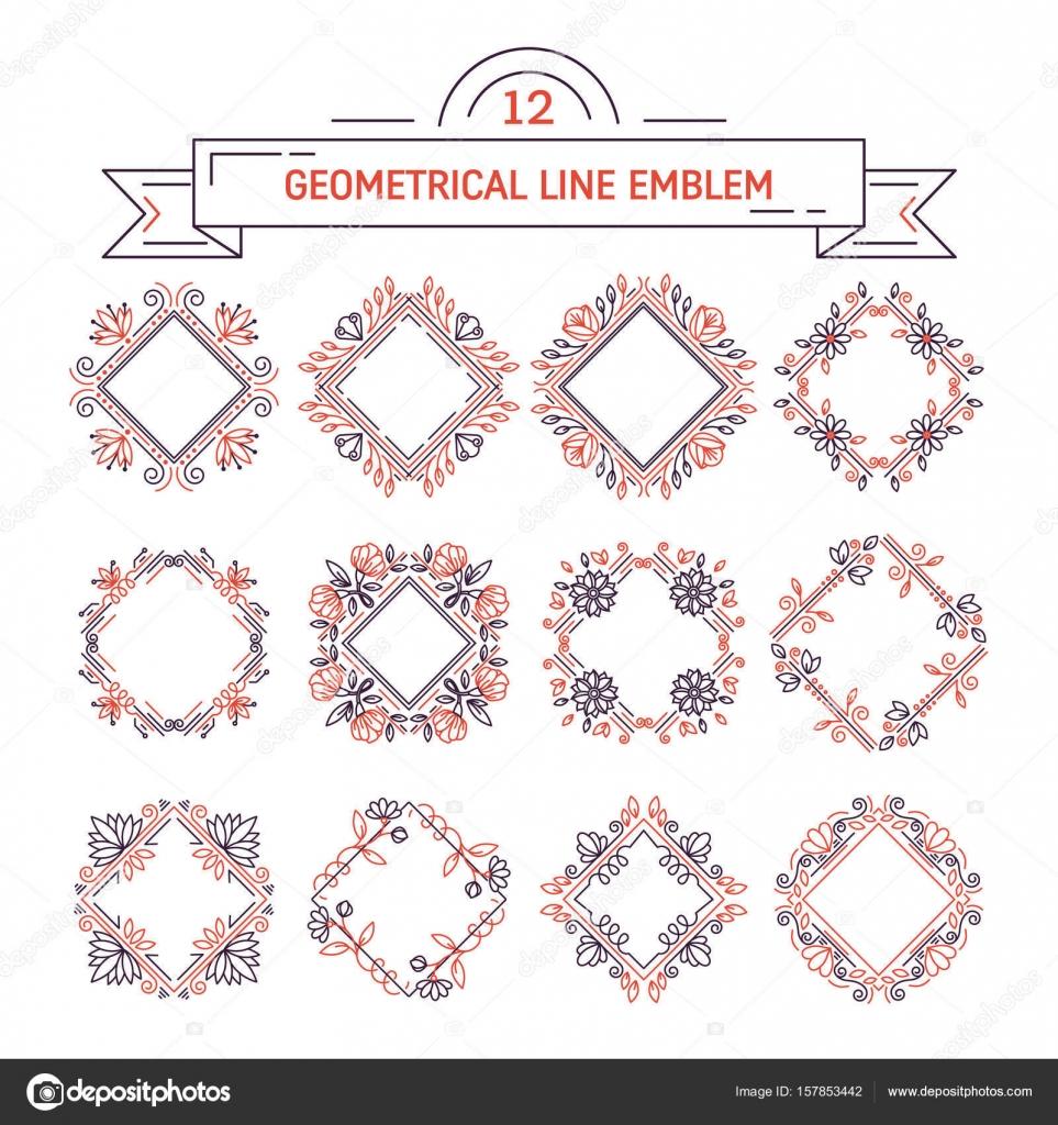 857b5ff5a1d6 Vector conjunto de diseño de Marcos flores. Monogramas y emblemas en estilo  moderno Revestimiento aislado sobre fondo blanco. Motivos florales y de la  ...