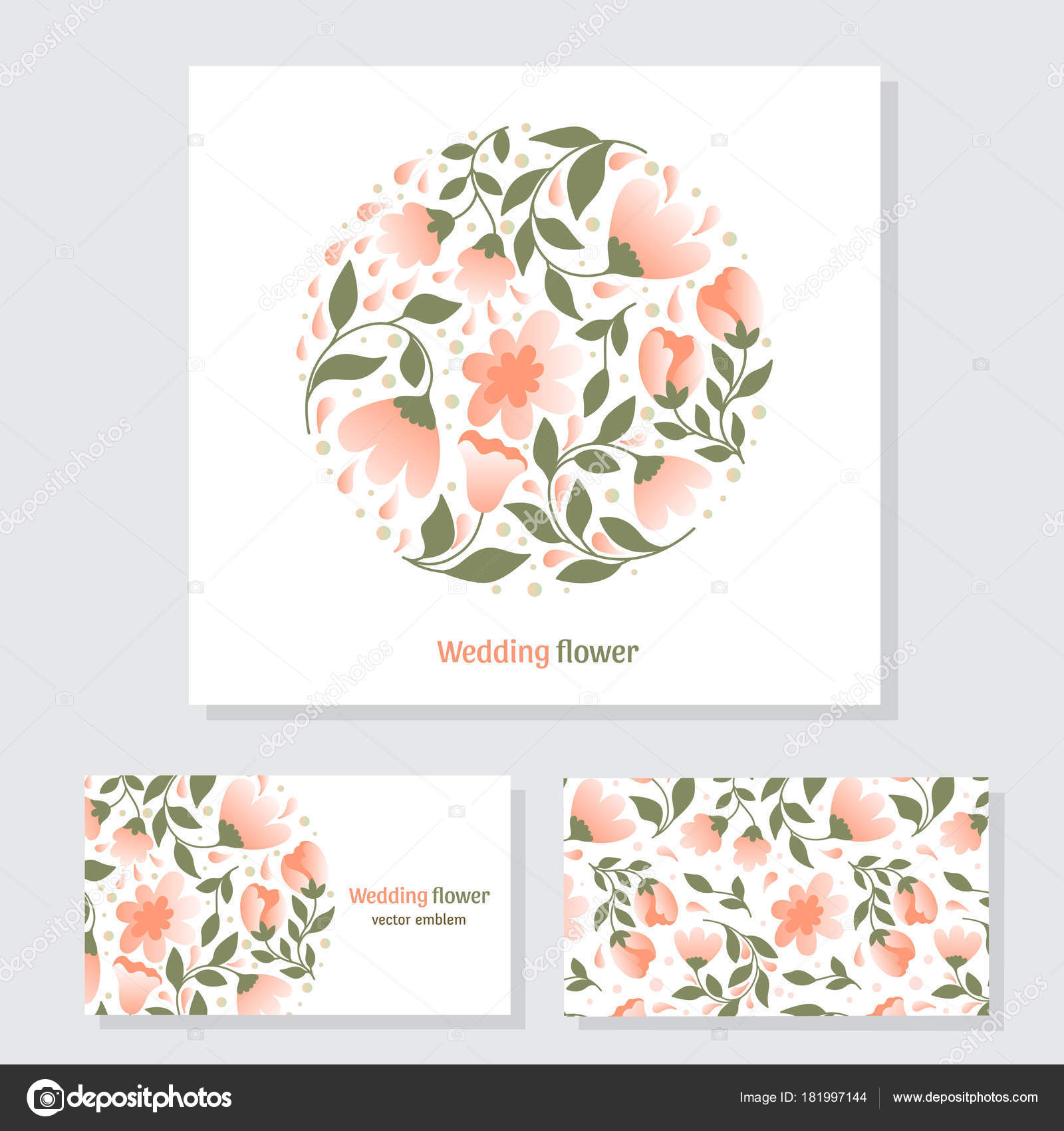 Vector Business Cards Template Circle Floral Logo Trendy Flat Style ...
