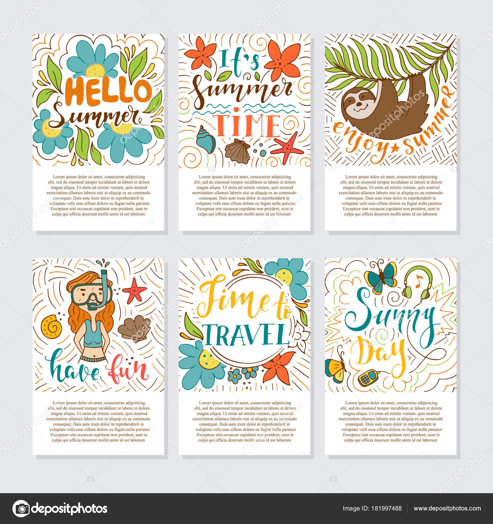 Set summer holidays tropical vacation hand drawn greeting cards set summer holidays tropical vacation hand drawn greeting cards handwritten stock vector kristyandbryce Image collections