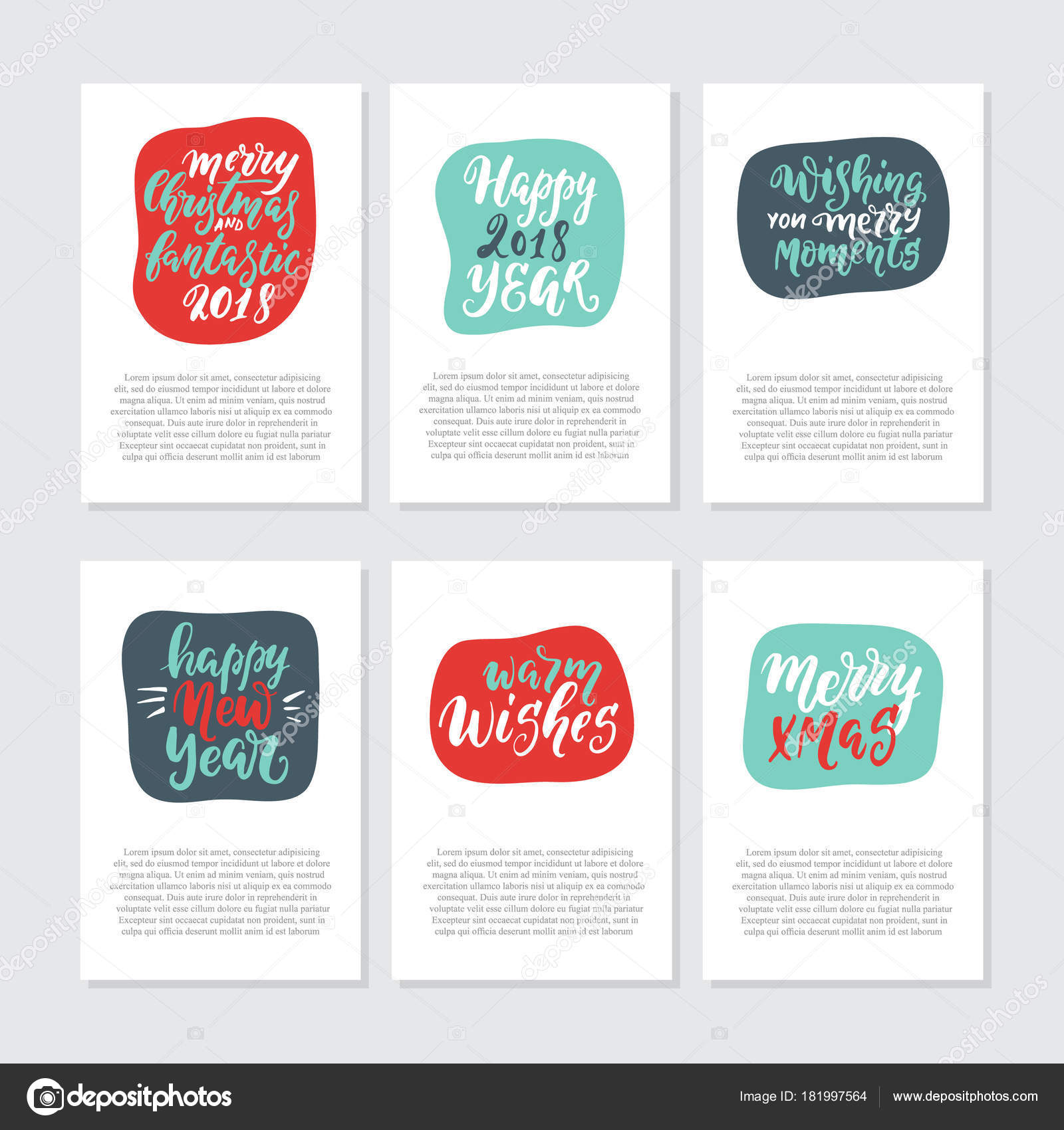 vector greeting cards invitations christmas new year quotes text isolated stock vector