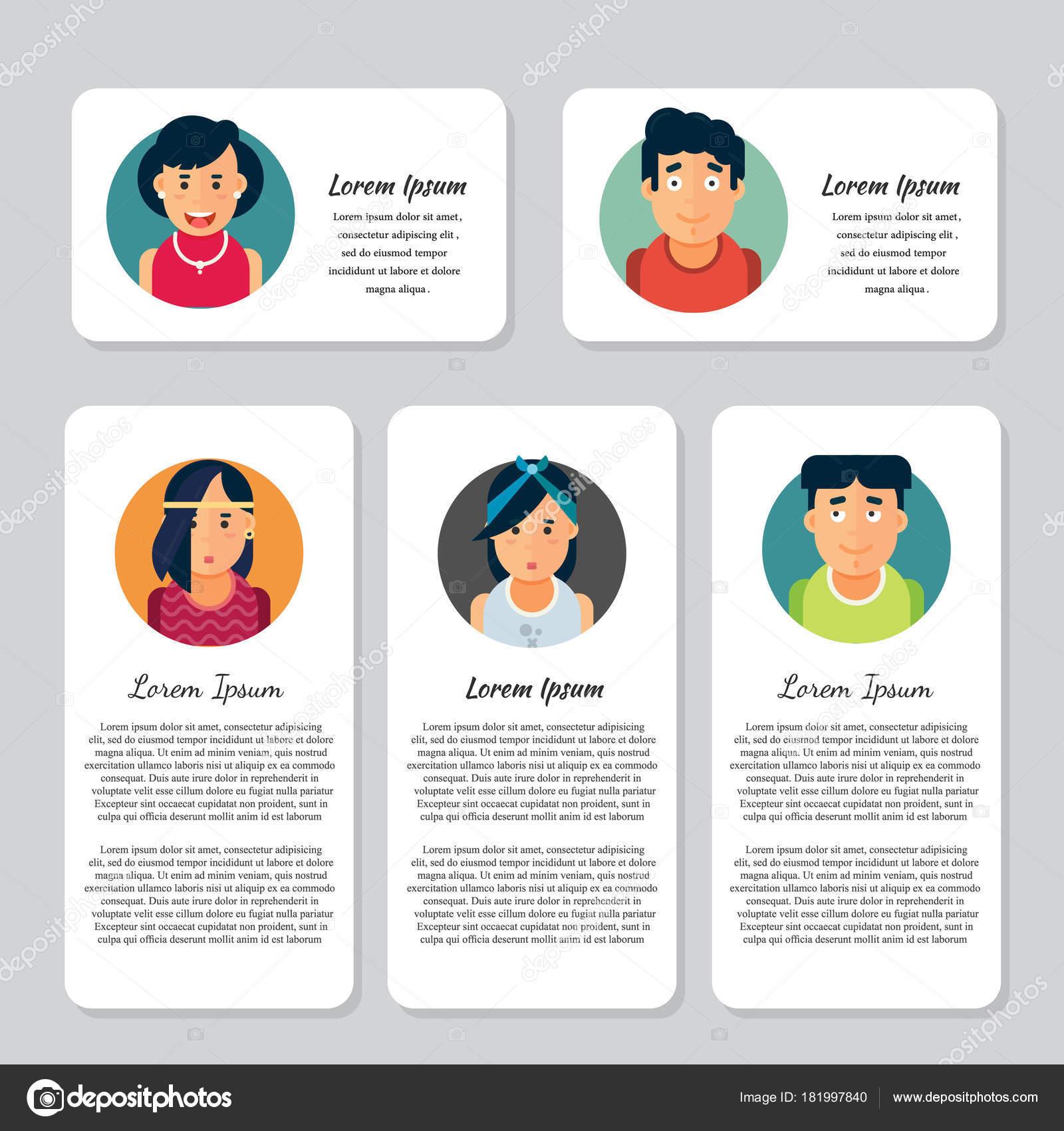 Carte De Visite Vecteur Ou Collections Flyer Avatars Peuple Color Caractres Diffrents Y Compris Les Hommes Et Femmes Par