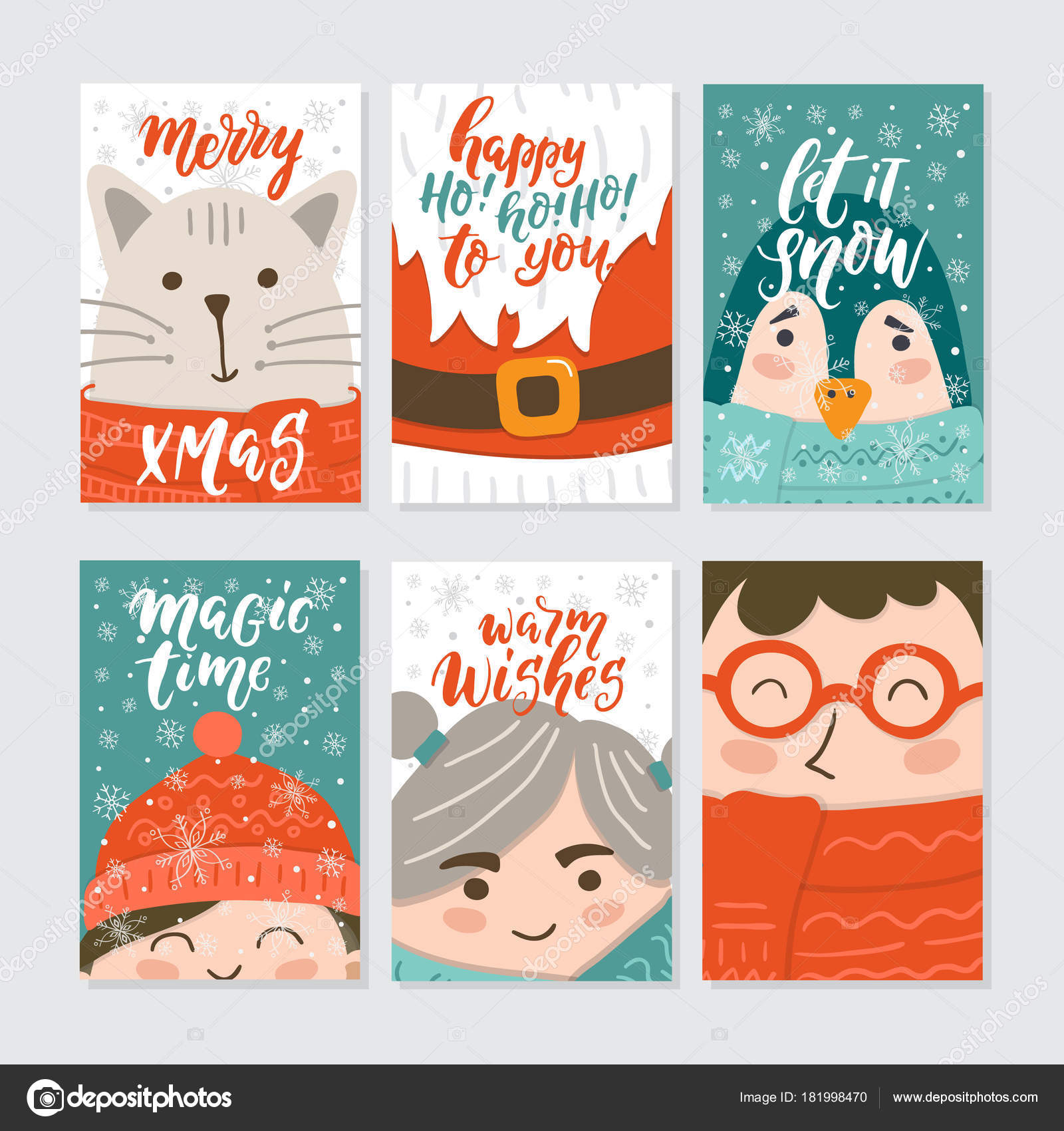 Vector Merry Christmas Greeting Cards Invitations Isolated ...