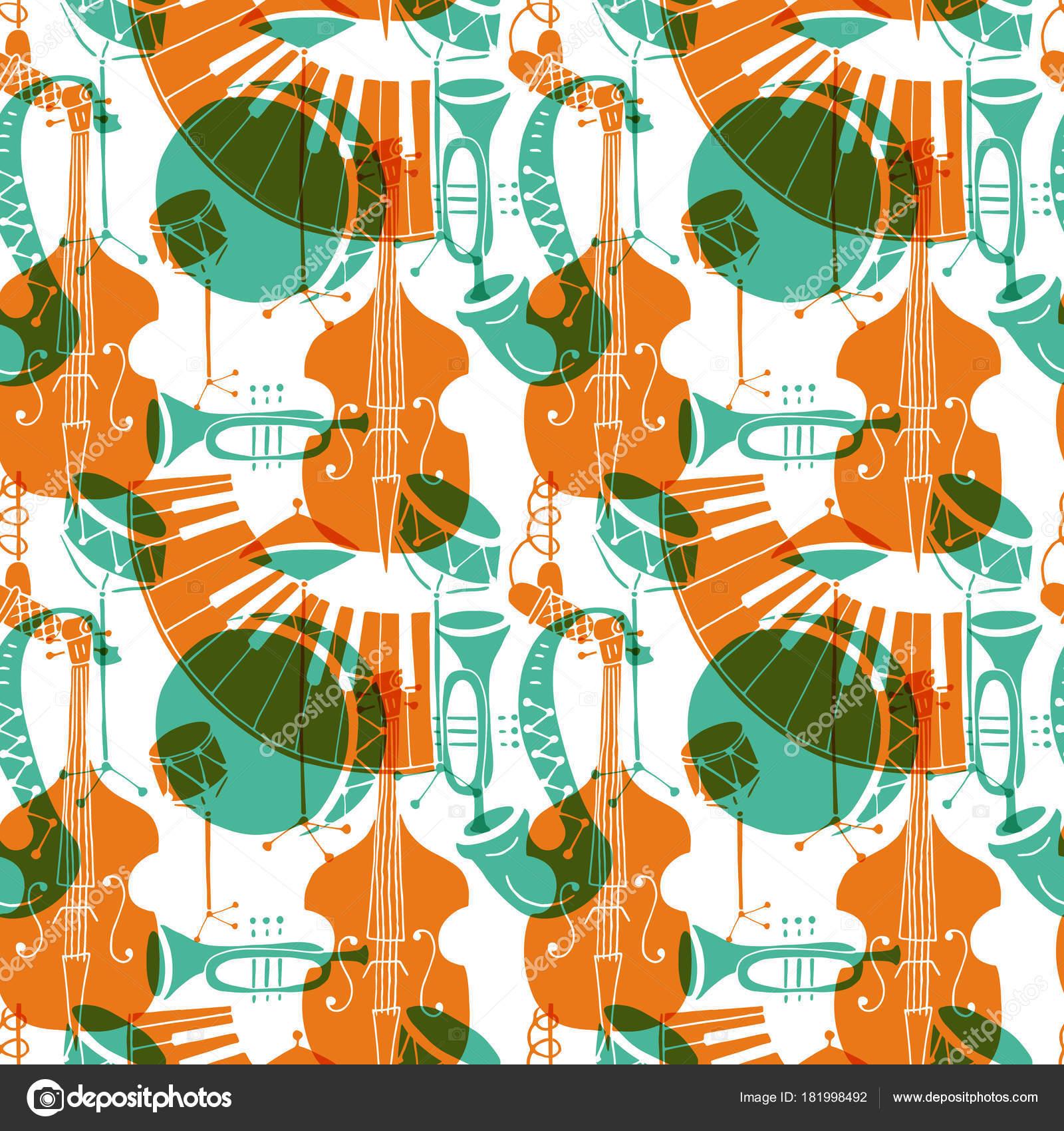 Seamless Pattern Music Instruments Trombone Trumpet Double Bass Saxophone Bass Stock Vector C Darijashka