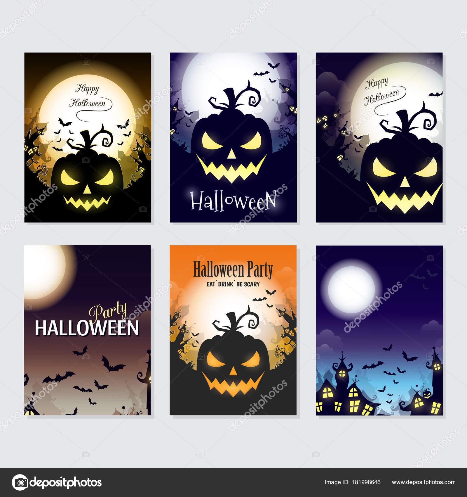 Vektor Halloween Grußkarten Flyer Banner Plakat Vorlagen ...