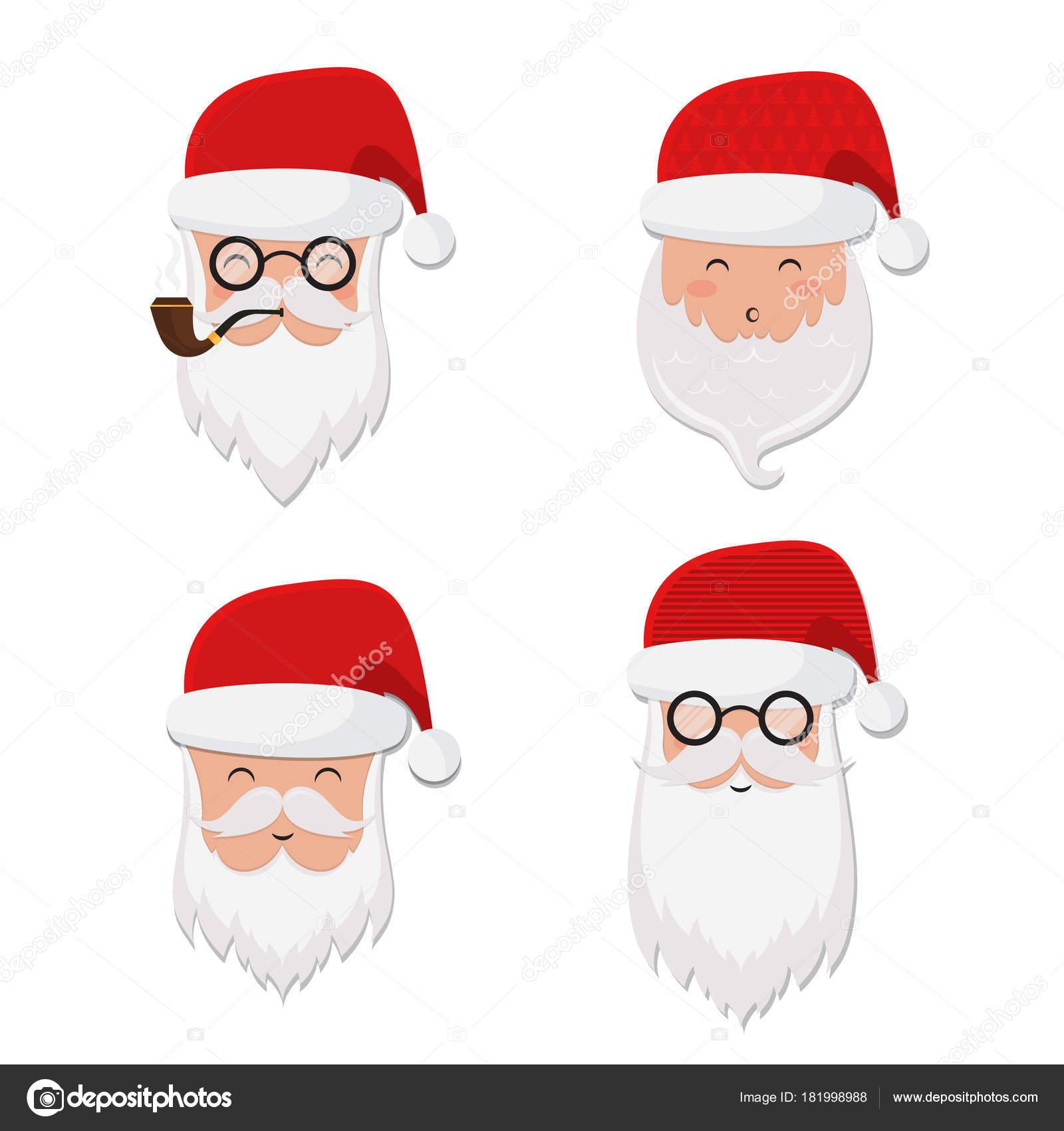 Conjunto Papai Noel Vetor Chapéu óculos Tubulação Barba