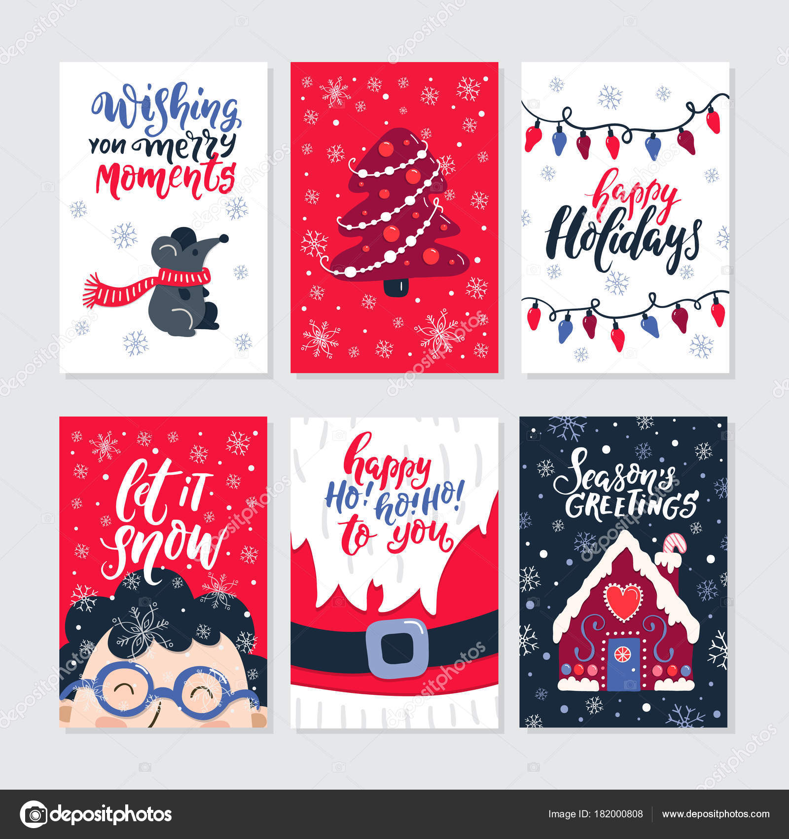 Vector Merry Christmas Greeting Cards Invitations Isolated