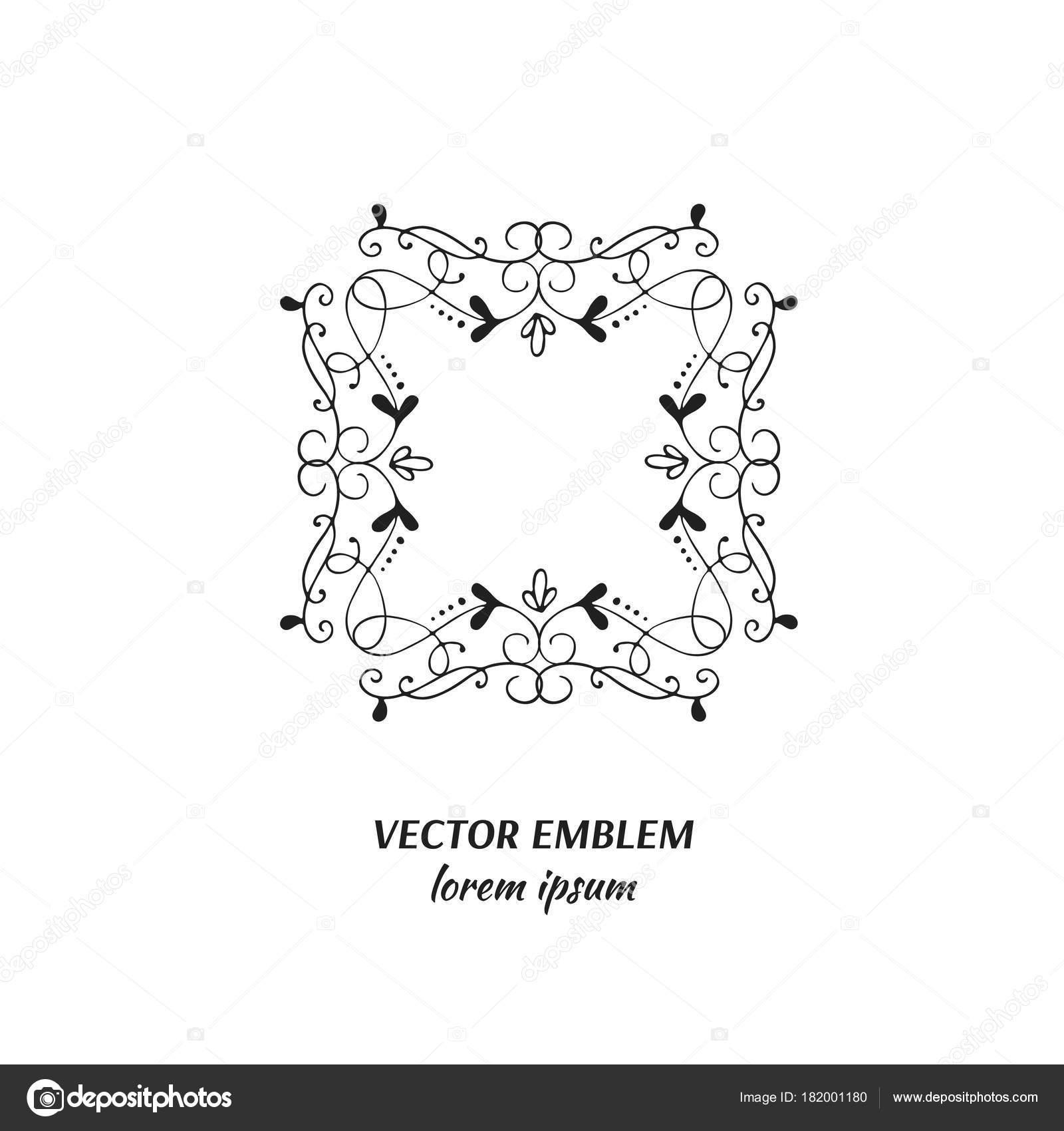 Vektor Symbolblume Rahmen Handgezeichneten Logo Für Blumenladen ...