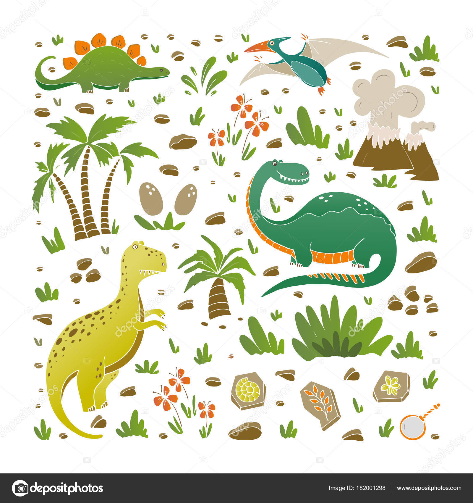 Vector Set Funny Dinosaurs Palms Volcano Fossils Eggs Flowers ...