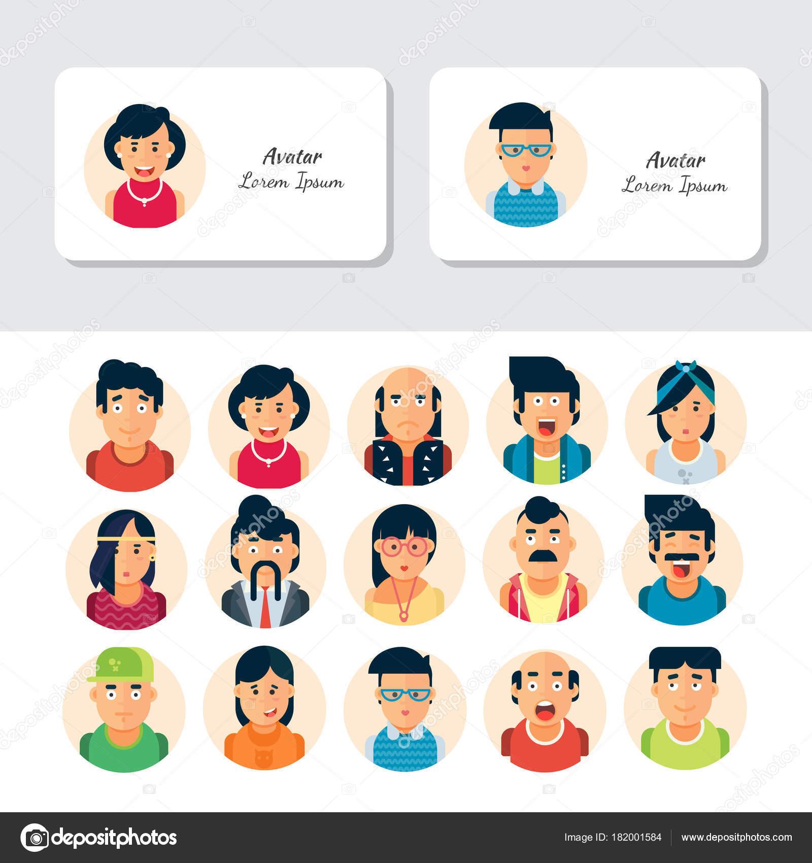 Carte De Visite Vecteur Ou Collections Flyer Avatars Peuple Colore Caracteres Differents Y Compris Les Hommes Et Femmes Illustration