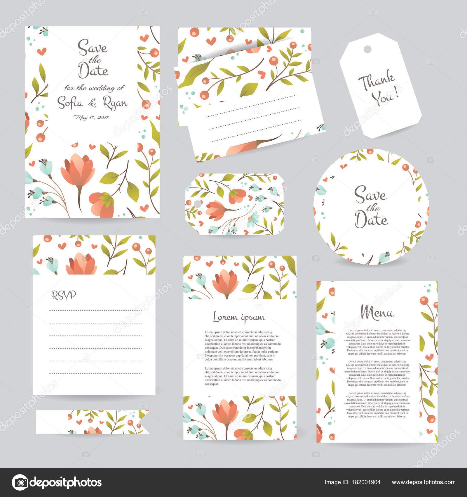 plantilla de tarjetas de boda suave vector con diseo de flores invitacin de la boda o guardar la tarjeta de men y gracias fecha rsvp para el diseo
