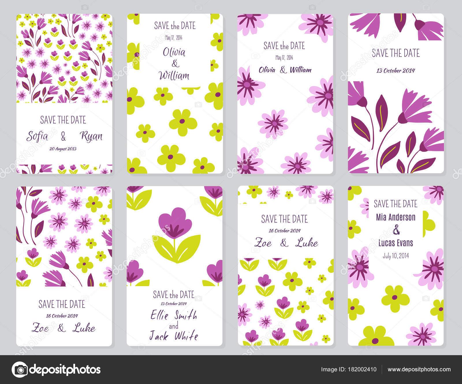 Vektor Sanfte Hochzeit Karten Vorlage Mit Blumenmuster Einladung ...