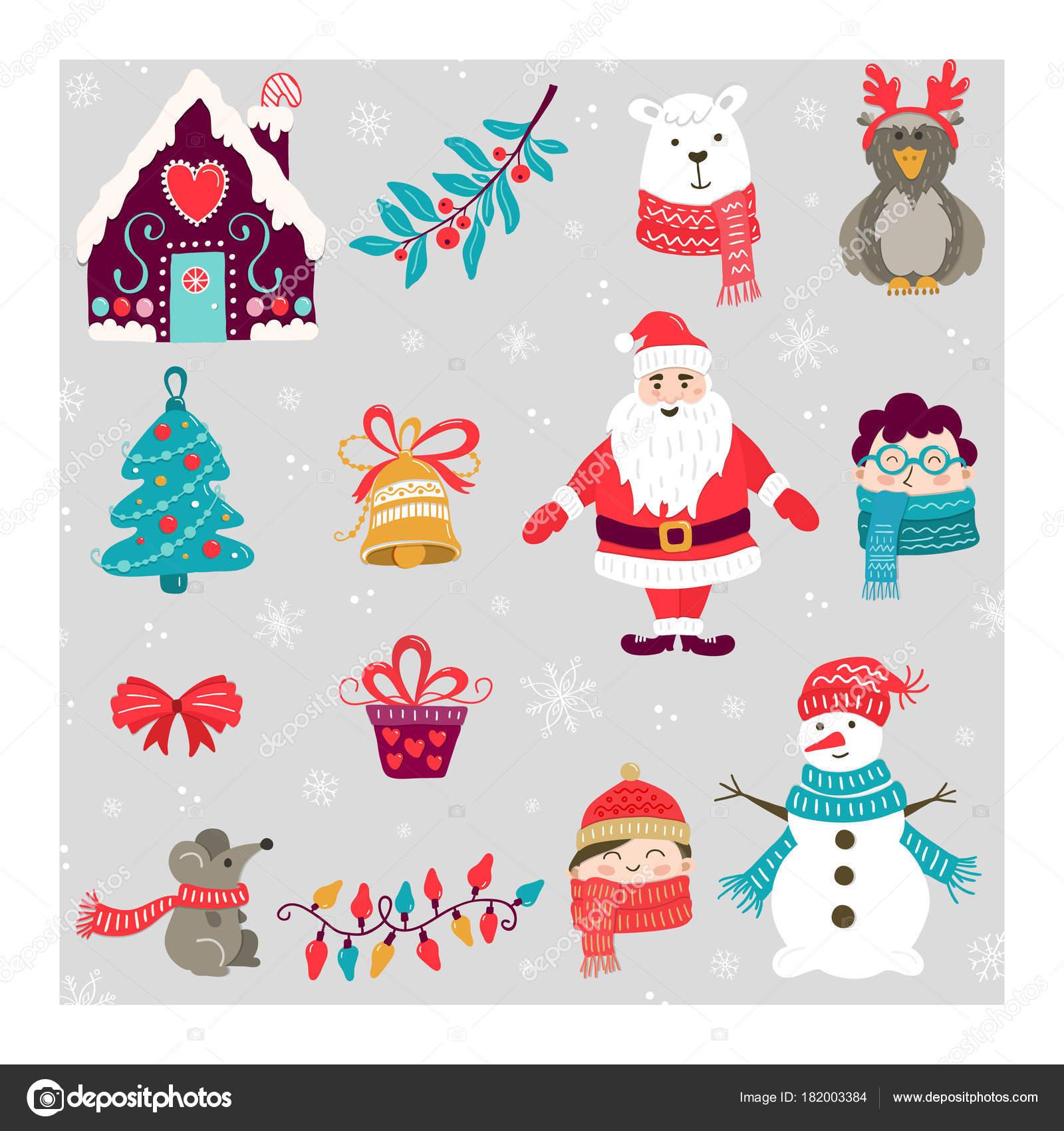 Vektor Set Von Handgezeichneten Weihnachten Illustrationen Clipart ...