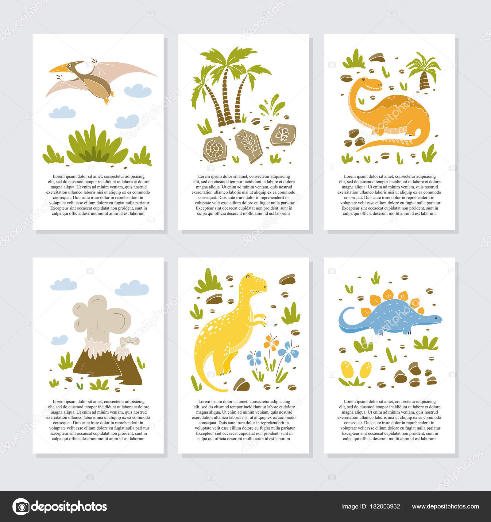 Vector Greeting Cards Funny Dinosauts Elements Cartoon Style
