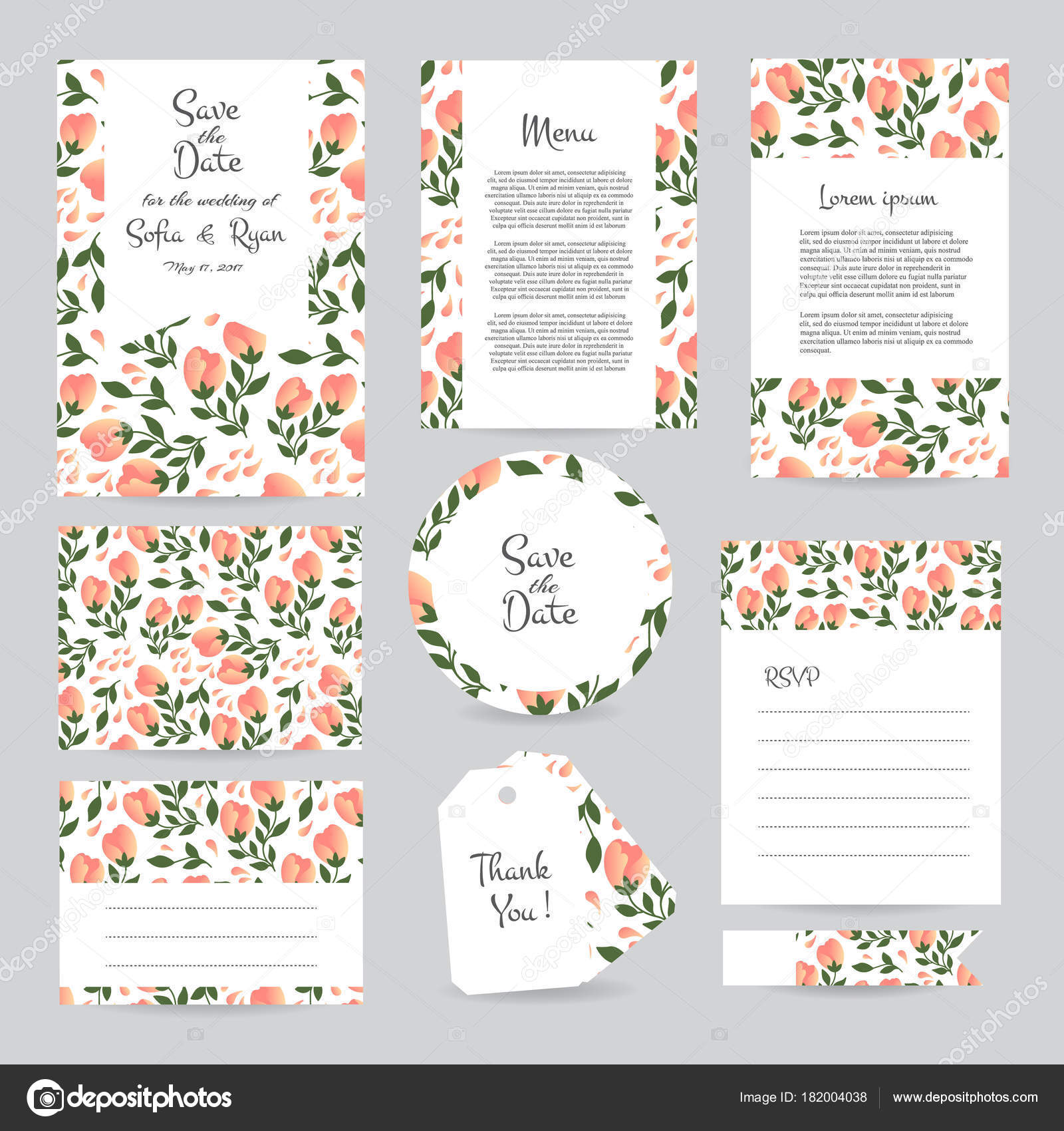 Vector Gentle Wedding Cards Template Flower Design Invitation Date