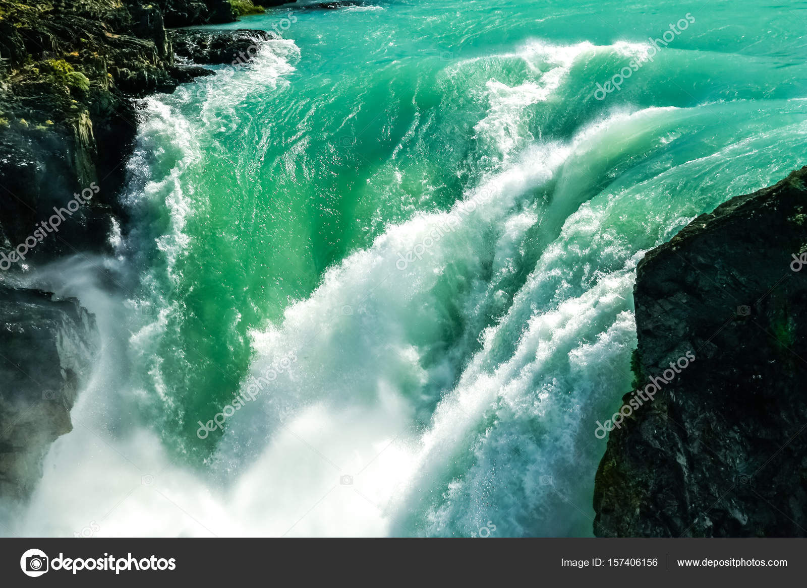 Salto Grande Or Big Waterfall In Torres Del Paine Stock Photo
