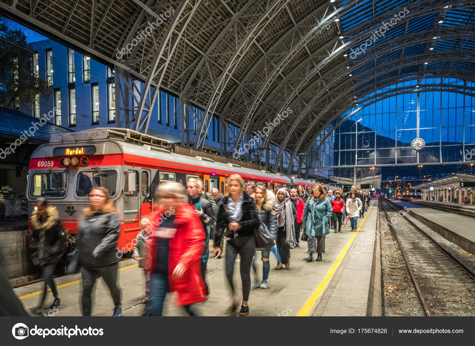 the railway station in bergen city in norway stock editorial photo