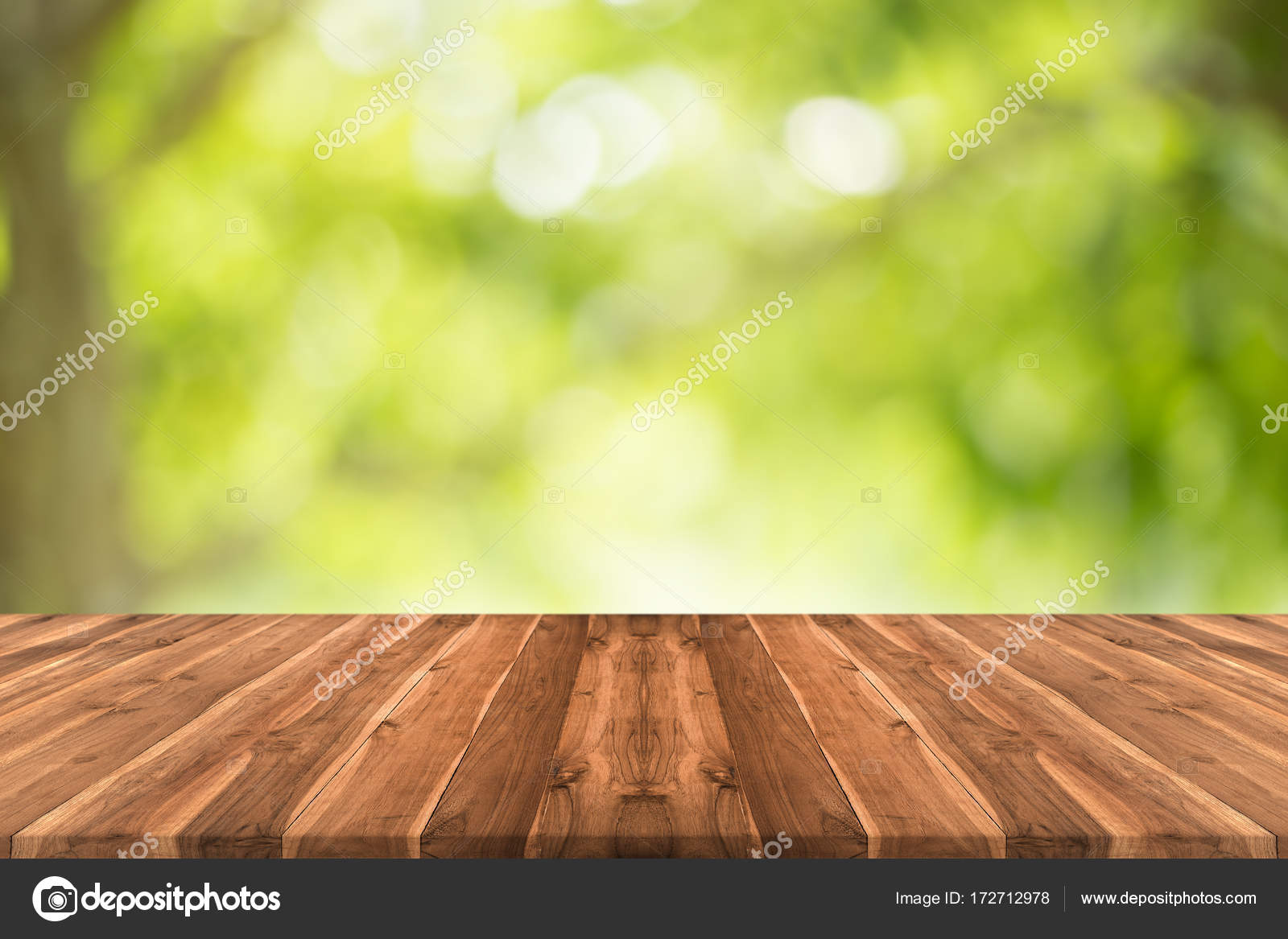 Empty Teak Wood Table Top On Nature Green Blurred Background U2014 Stock Photo
