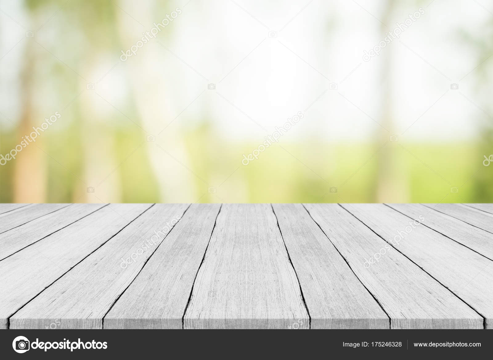 Picture of: Empty White Wood Table Top On Nature Green Blurred Background Stock Photo C Sorrapongs 175246328