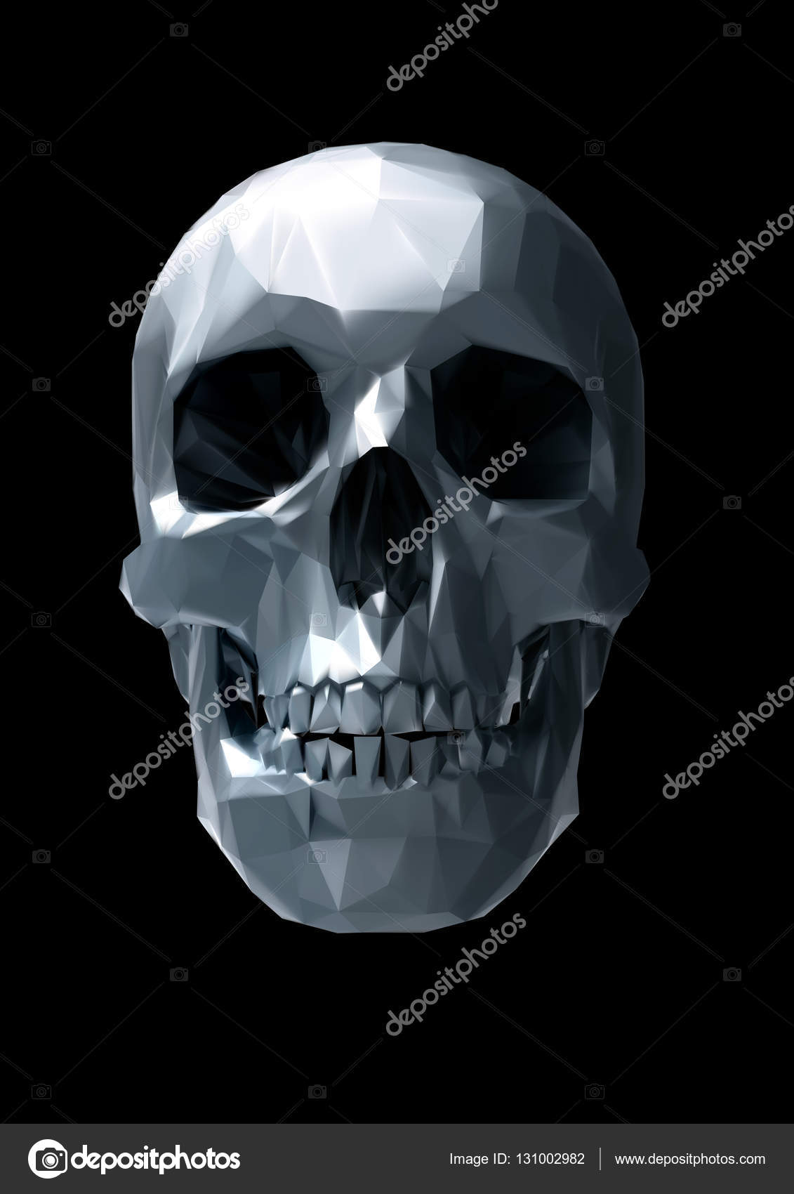 Low poly vector chrome skull front view in 3D lighting look