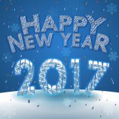 Happy new year 2017 greeting on snow background