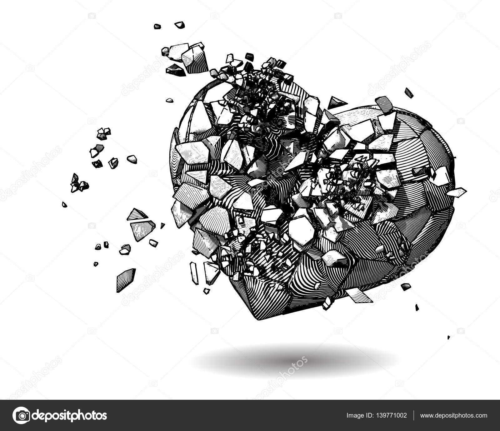 Coração Partido Ilustração Desenho Em Branco Bg