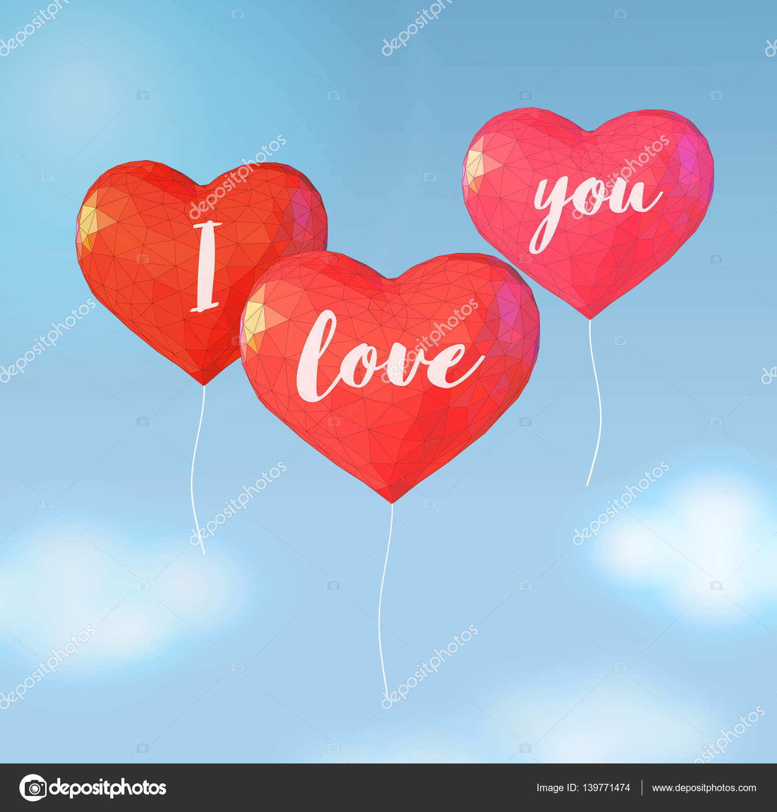 Low Poly Balloon In Heart Shape For Valentine Greeting Stock