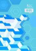 Isometric abstract geometric shape graphic on blue BG
