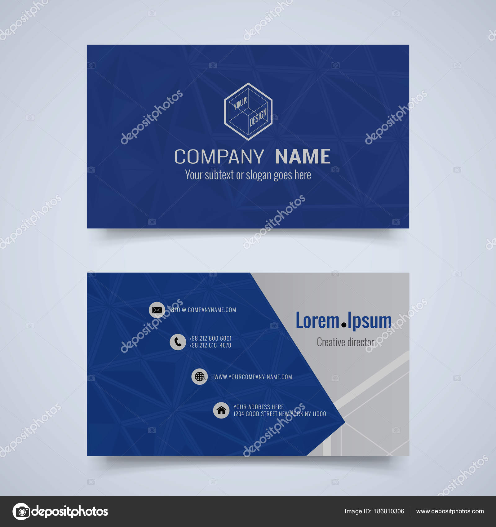 Business card set with geometric concept design stock vector abstract triangular geometric business card layout design front and back set vector by jolygon colourmoves