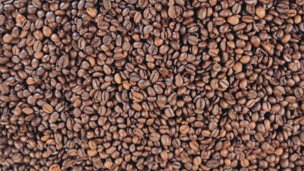 Coffee beans closeup, grain, falling, slow motion
