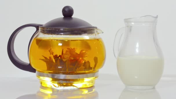 green tea in a glass teapot and a small jug of milk