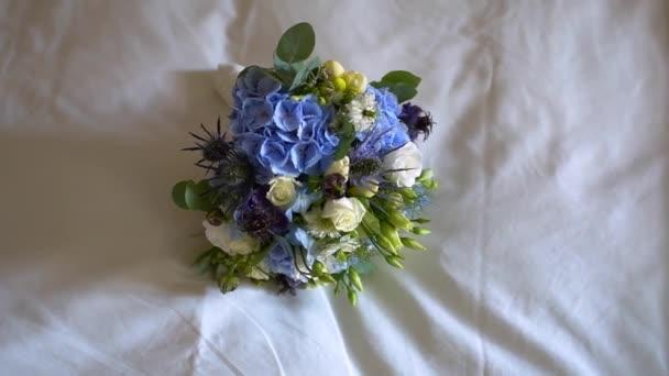 beautiful white blue wedding bouquet