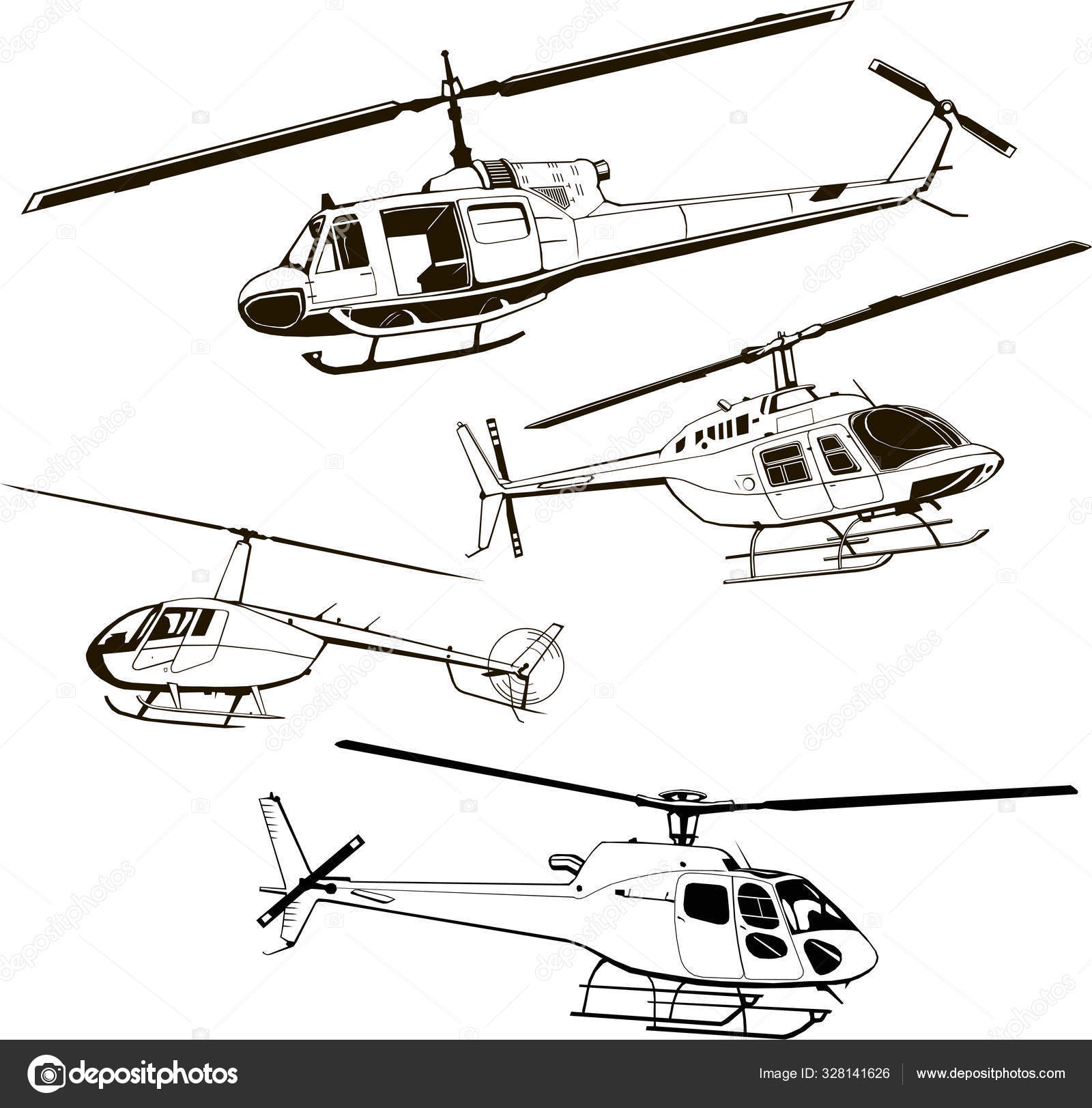 Helicopters Set Four Models Vector Illustration Icon Symbol Monogram Isolated Silhouette Stock Vector C Hdinc 328141626