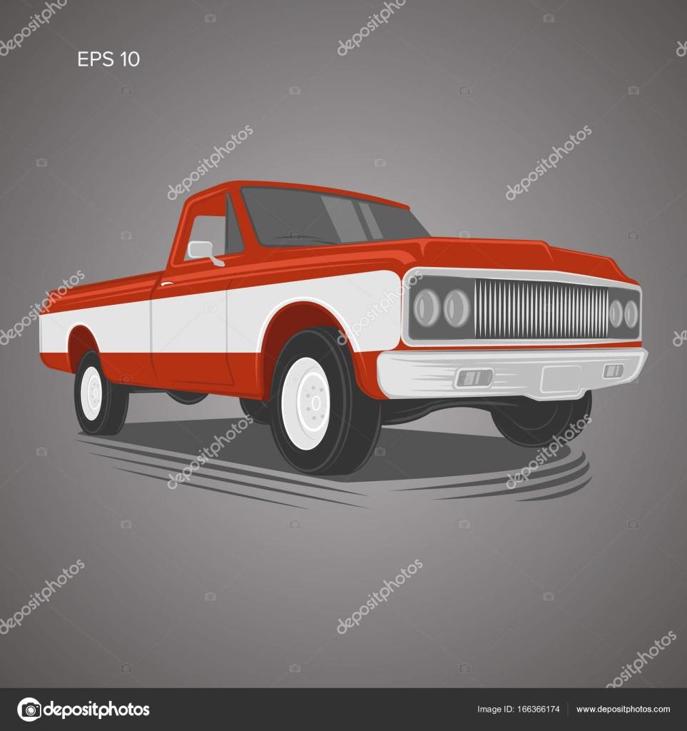 Vintage pickup truck vector illustration. Oldschool american car ...
