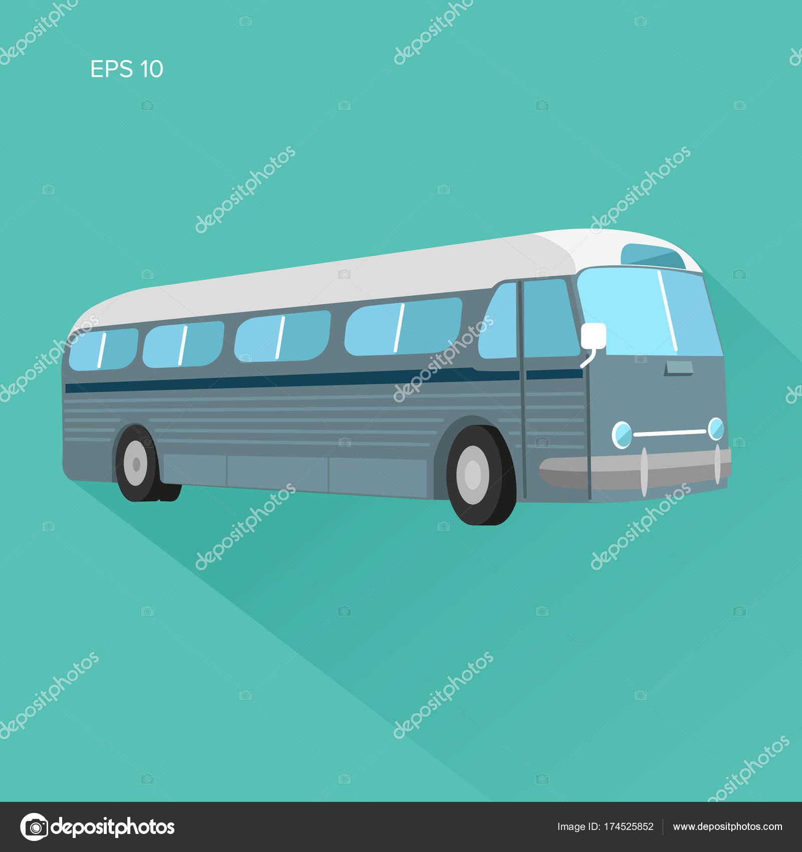 Old vintage american bus vector illustration  — Stock Vector