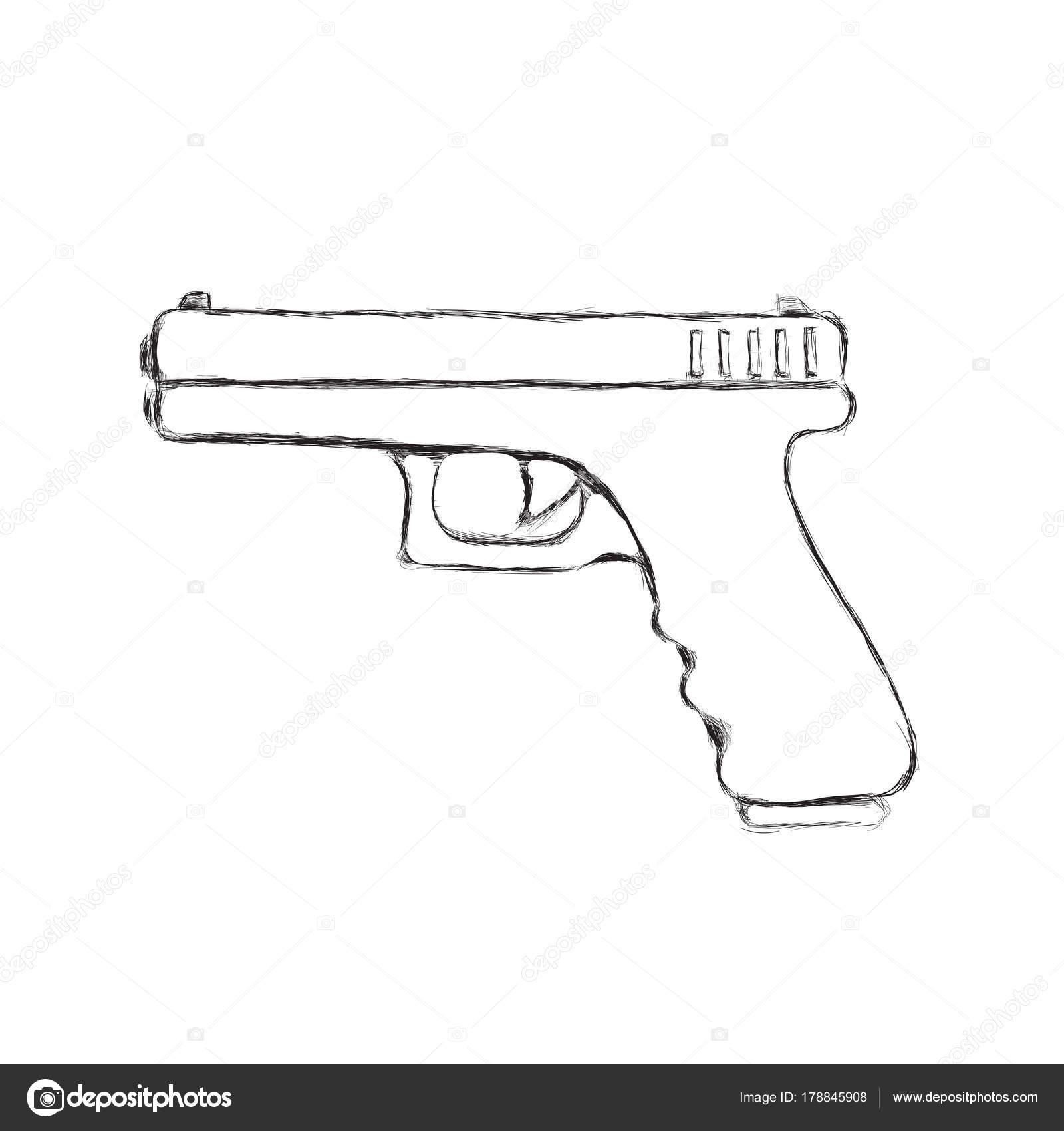 pistola dibujada mano semiautomática de 9mm ilustración de vector