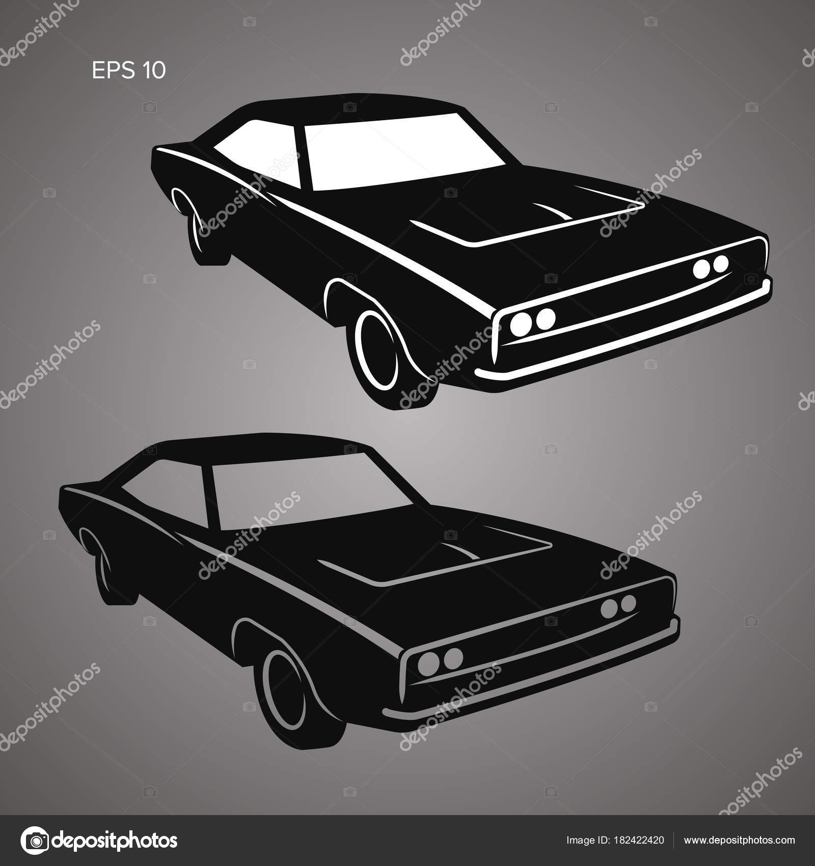 Classic American Muscle Car Vector Illustration Stock Vector