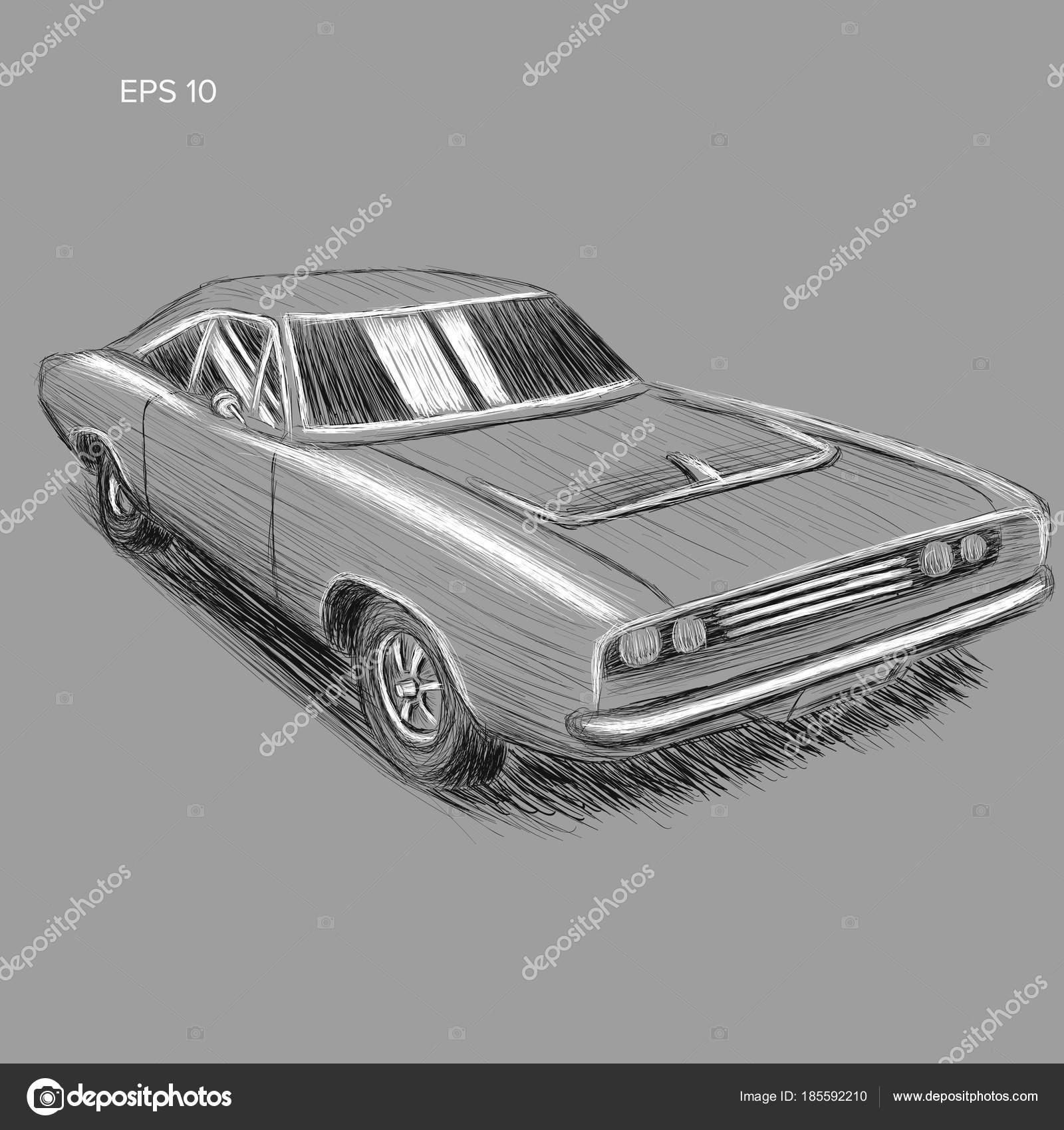 Klassische amerikanische Muscle-Car Handskizze gezeichnete Vektor ...