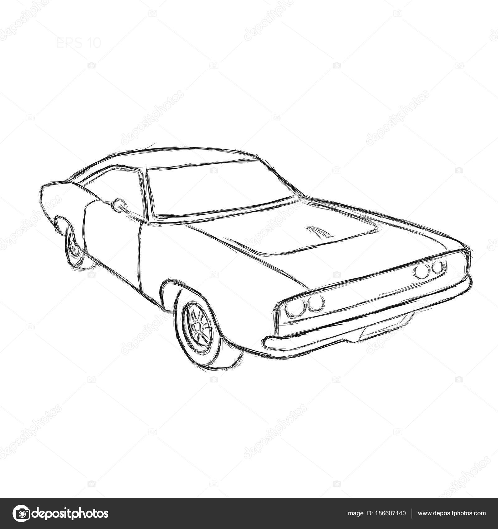 Classic American Muscle Car Hand Drawn Vector Illustration Sketch