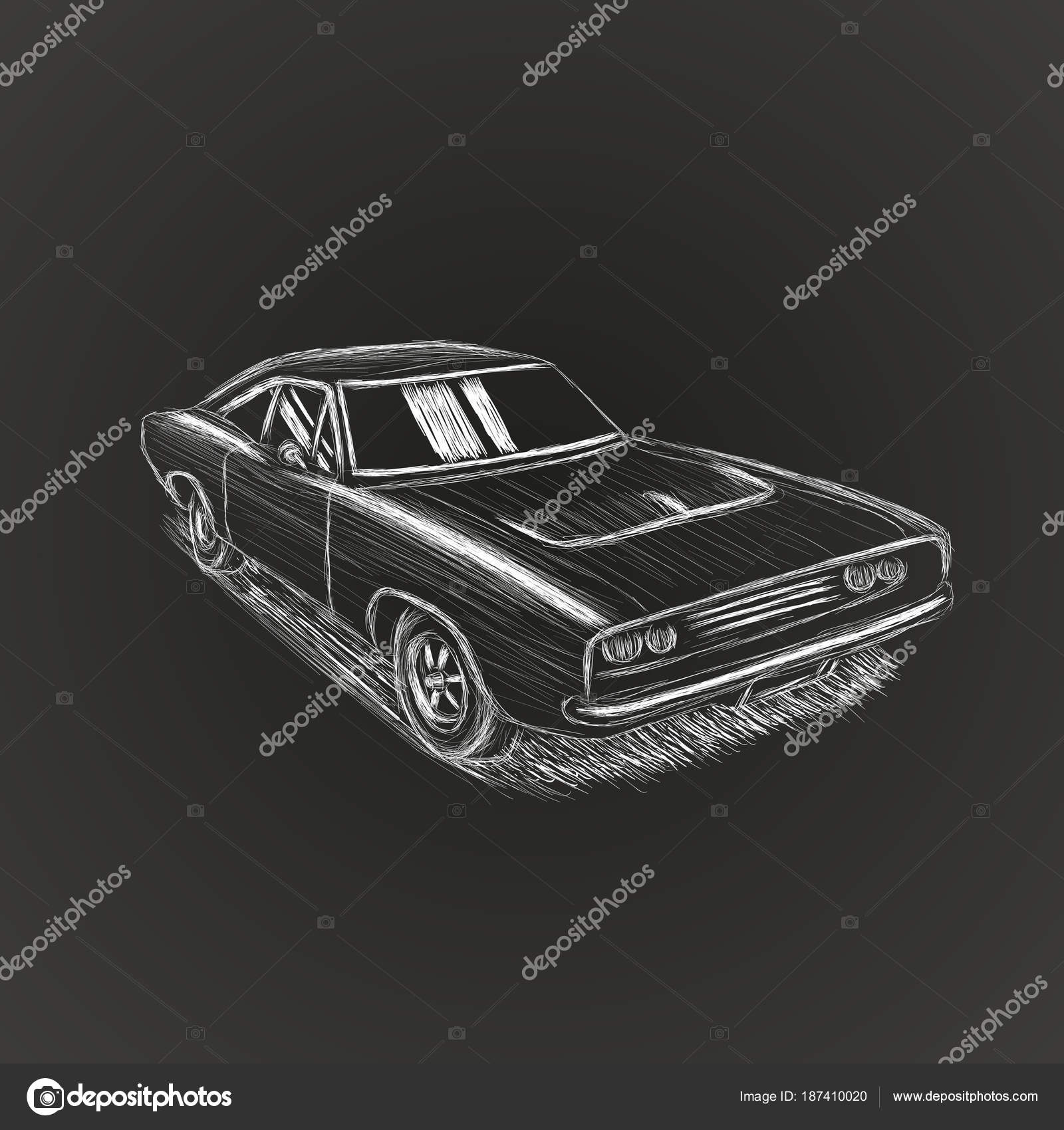 Classic american muscle car hand drawn vector illustration sketch ...