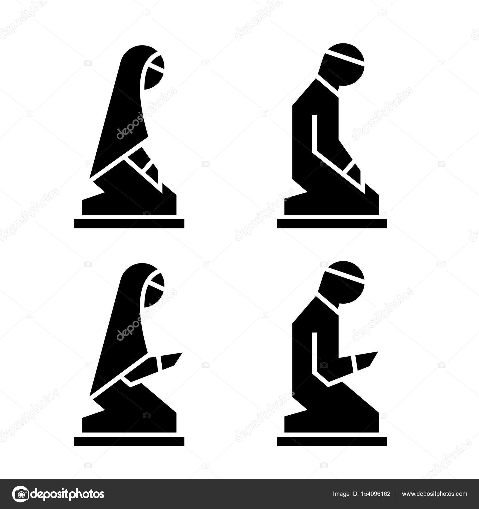 Muslim man and woman making a supplication islamic prayer icons muslim man and woman making a supplication islamic prayer icons stock vector biocorpaavc Images