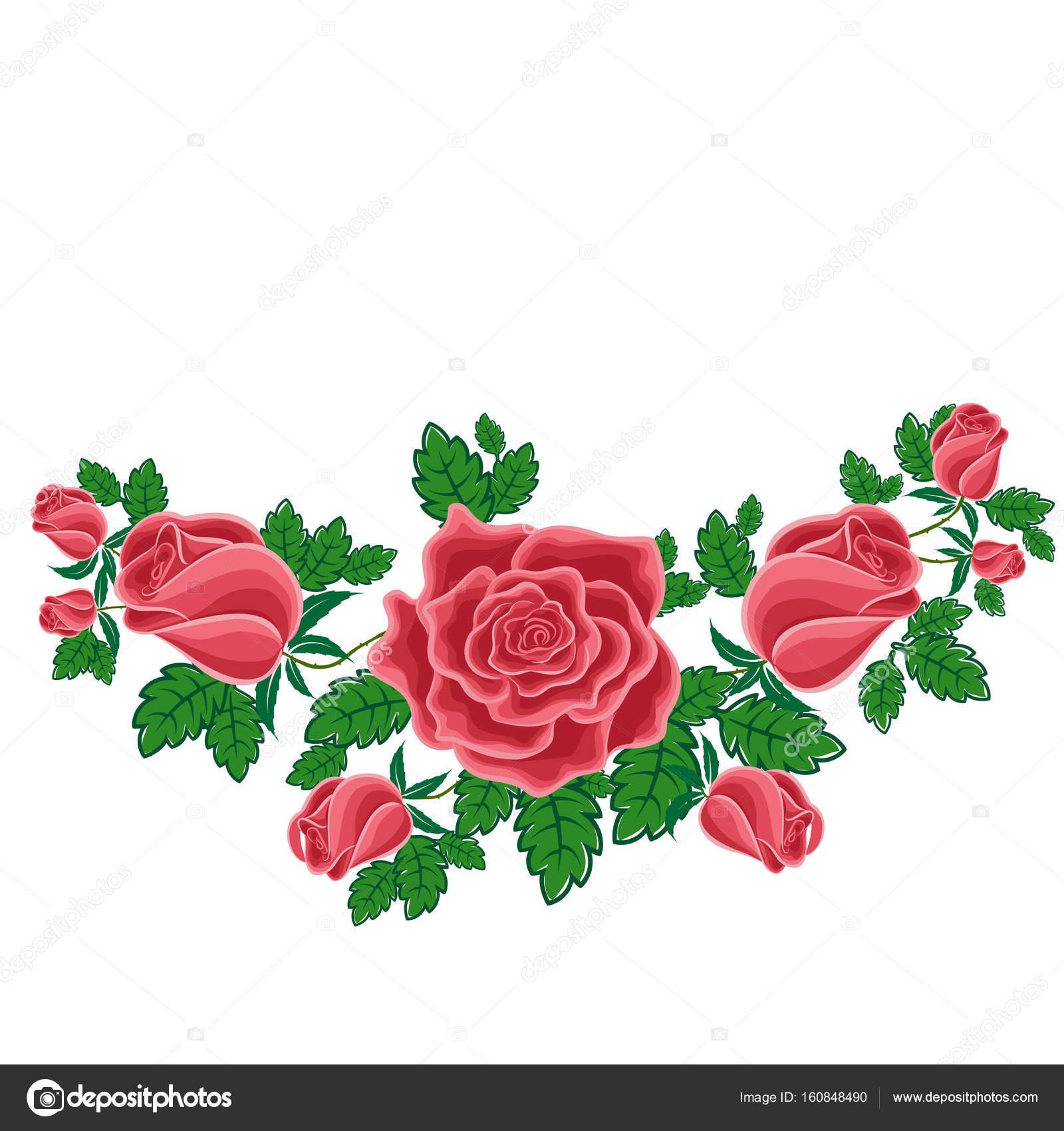 Rosas Rojas En Estilo De Dibujos Animados Archivo Imágenes