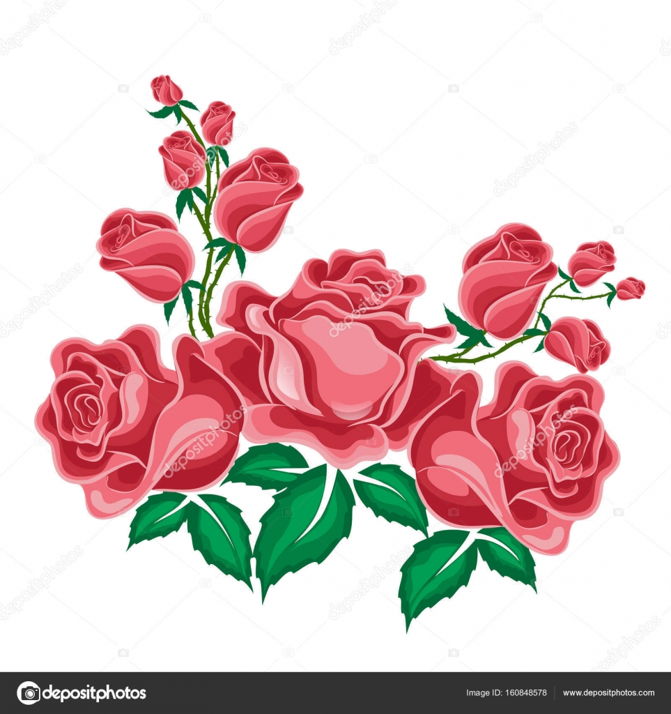 Rose rosa in stile cartone animato — vettoriali stock