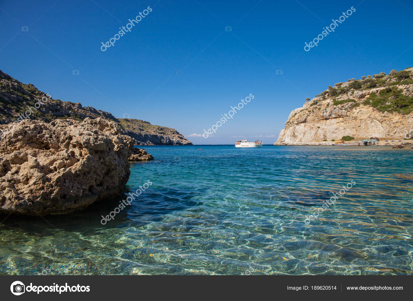 Anthony Quinn Bay Rhodos In Faliraki Schöner Strand Auf Der Insel