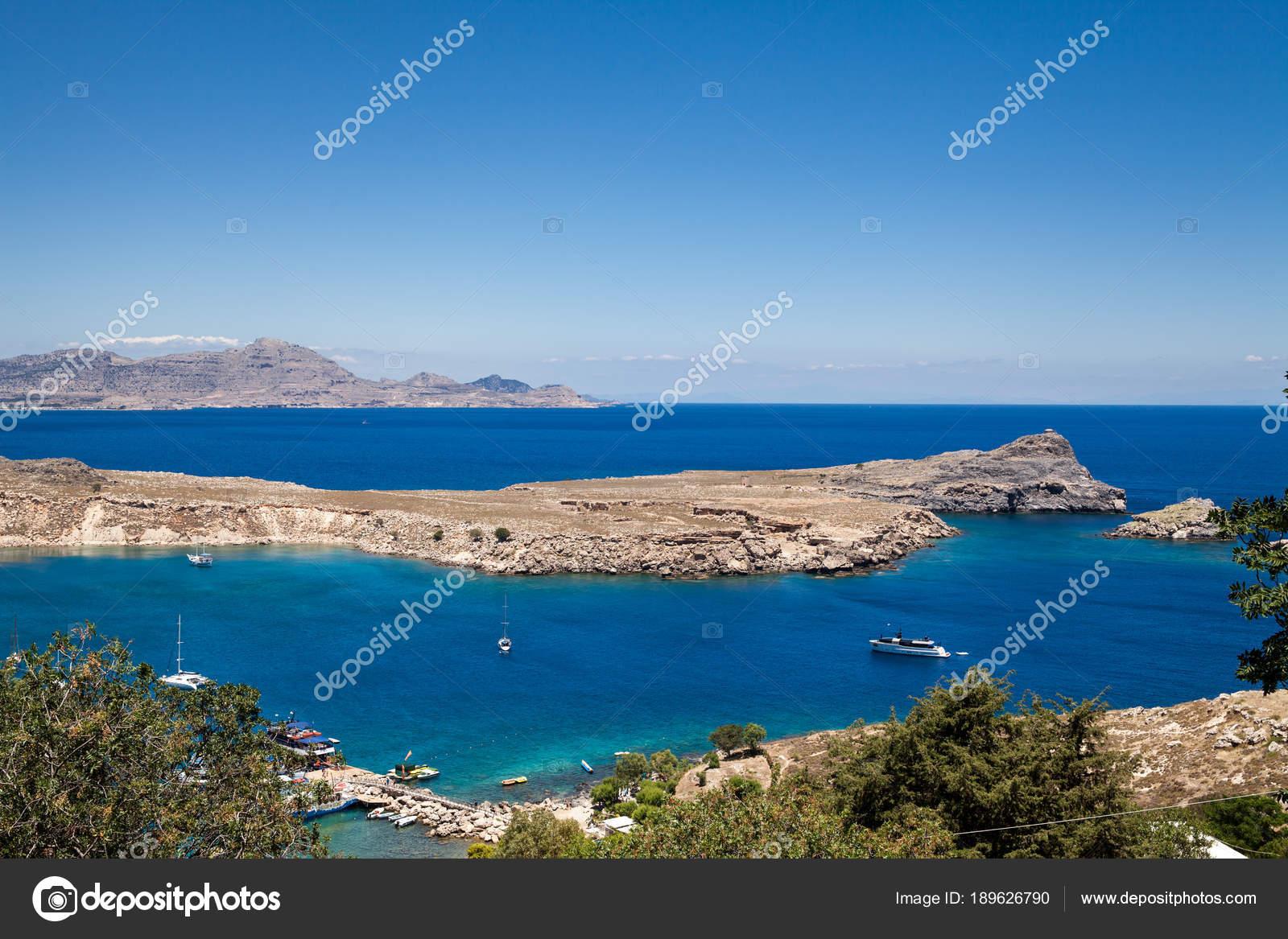 Bucht Und Strand Der Stadt Lindos Blaues Wasser Und Herrlichen