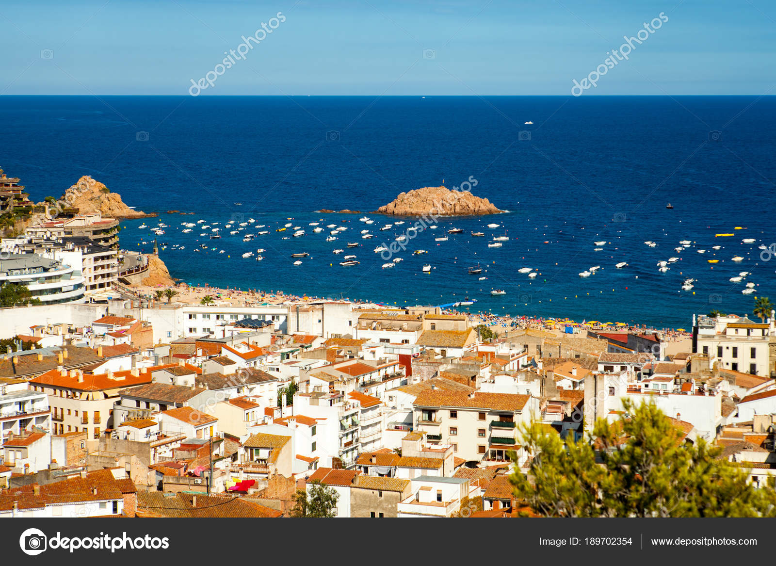 View Of The Town Of Tossa De Mar City On The Costa Brava Buildings