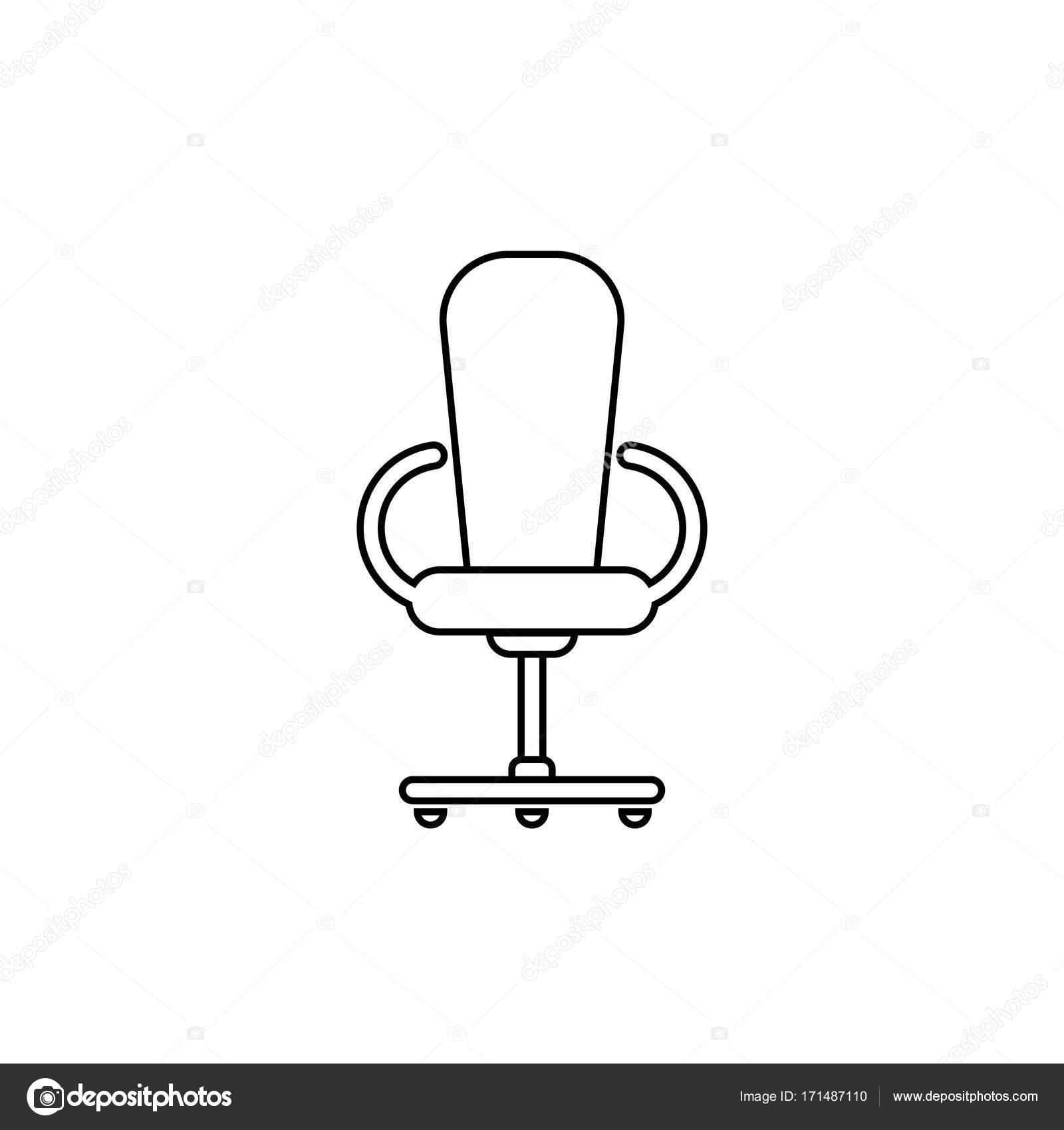 Linea sedia ufficio Vettore di piatto Disegno in bianco e nero — Vettoriale Stock