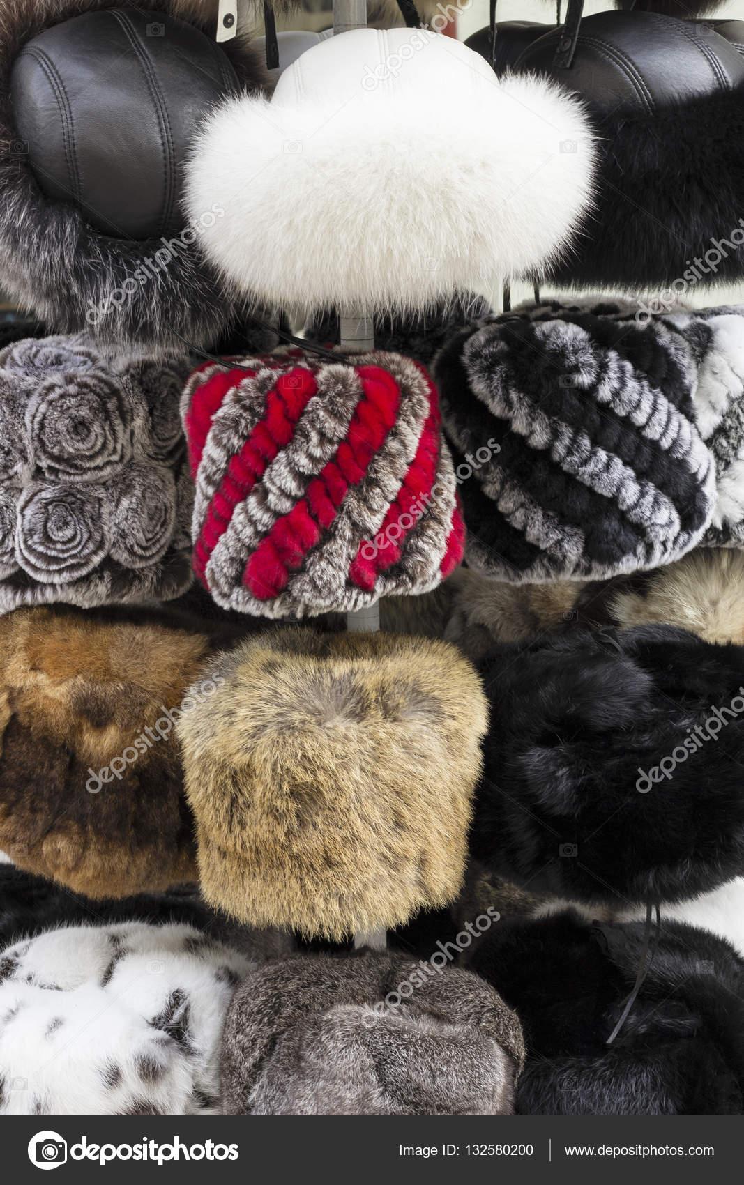 25341ecd0f3 Russian winter fur hats for sale — Stock Photo © vevchic gmail.com ...