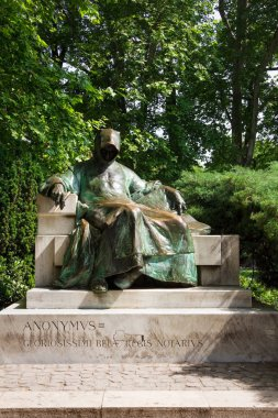Anonymos statue in a public City Park in Budapest, Hungary