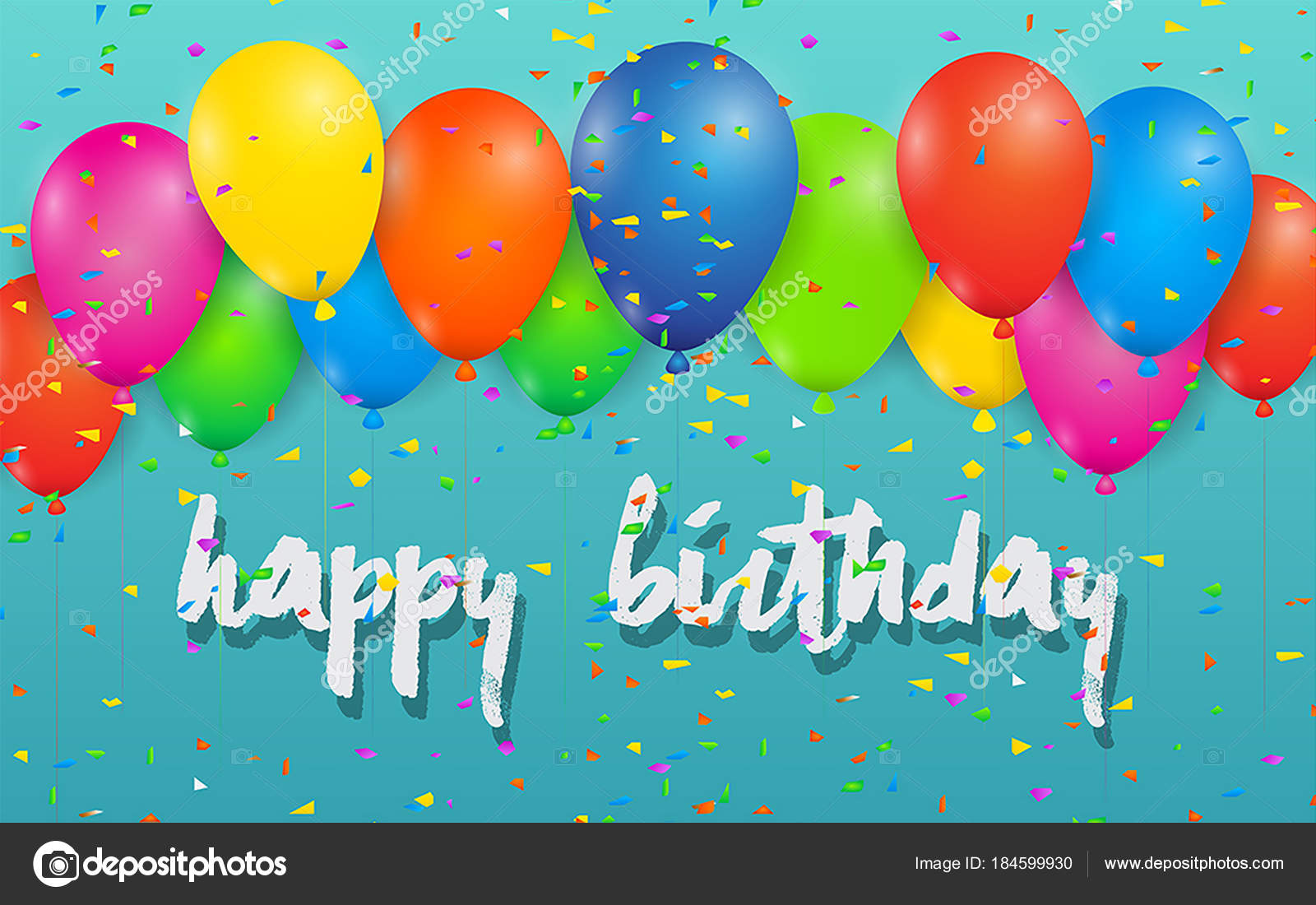 Happy Birthday Greeting Card Auf Hintergrund Vektor Illustration Design Fur Grusskarten Und Poster Mit Ballons